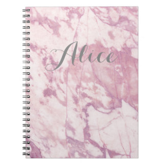 Elegant Pink Marble with Gray Name Note Books