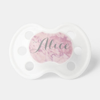 Elegant Pink Marble with Gray Name Pacifier
