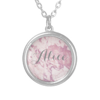 Elegant Pink Marble with Gray Name Silver Plated Necklace