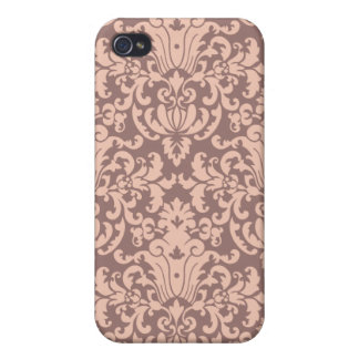 Elegant Pink Mauve Damask Pattern Covers For iPhone 4