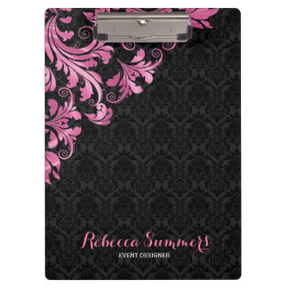 Elegant Pink Metall Lace Black Damasks Clipboard
