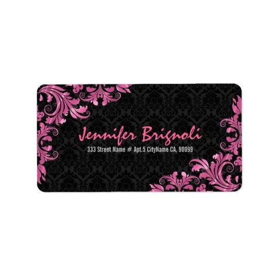 Elegant Pink Metall Lace Black Damasks Label