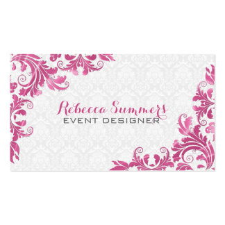 Elegant Pink Metall Lace White Damasks Business Card Template