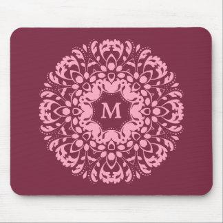 Elegant pink monogram mouse pad
