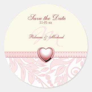 Elegant Pink Monogram Save the Date Round Stickers
