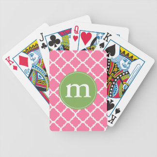 Elegant Pink Moroccan Quatrefoil Personalized Bicycle Playing Cards