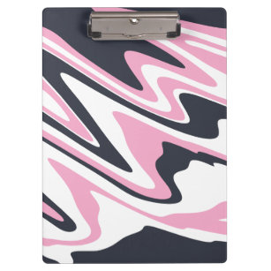Elegant pink, navy blue and white marble look clipboard