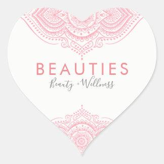 Elegant Pink Ornate Paisley Lace Heart Sticker