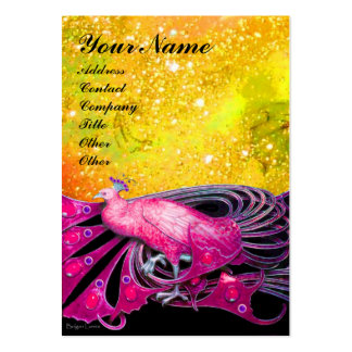 ELEGANT PINK PEACOCK JEWEL IN GOLD SPARKLES LARGE BUSINESS CARD
