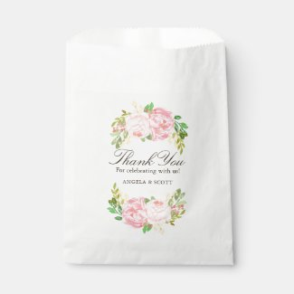 Elegant Pink Peonies Wedding Favour Bags (50)