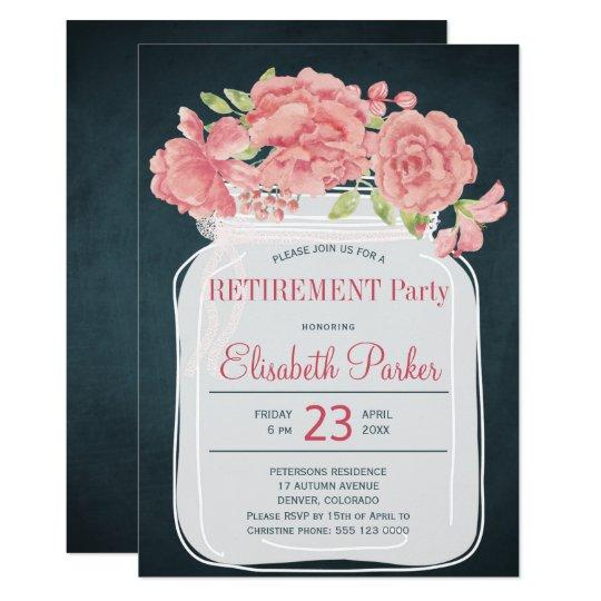 Elegant pink peony mason jar navy retirement party card