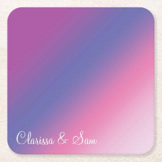 elegant pink purple blue ombre gradient colorful square paper coaster