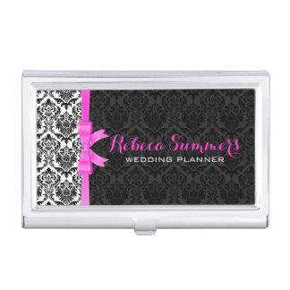 Elegant Pink Ribbon Black & White Damasks 2a Business Card Holder