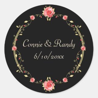 Elegant Pink Rose and Black Wedding Sticker