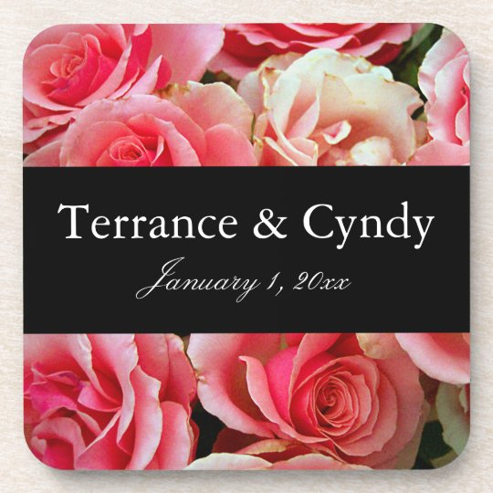 Elegant Pink Rose Bouquet Personalize Coaster