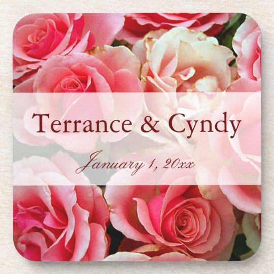 Elegant Pink Rose Bouquet Personalized Coaster
