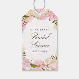 Elegant Pink Rose Bridal Shower Favor Tags Pack Of Gift Tags