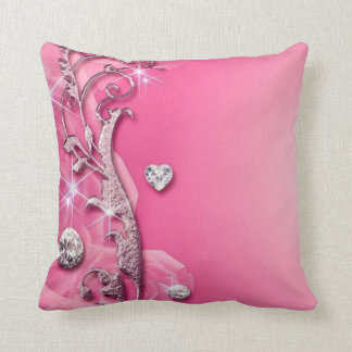 Elegant Pink Rose Diamonds Throw Pillow