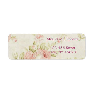 elegant Pink  rose Floral vintage  wedding Return Address Label