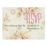 elegant Pink  rose Floral vintage  wedding RSVP Postcard