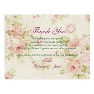 elegant Pink rose Floral vintage wedding thank you Postcard