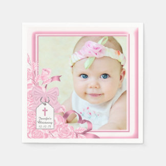Elegant Pink Rose Photo Christening Paper Napkins