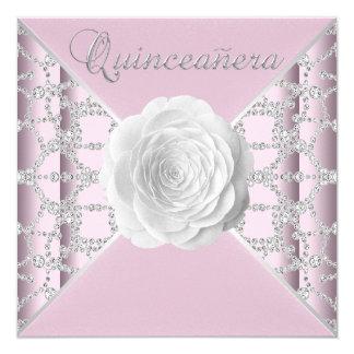 """Elegant Pink Rose Quinceanera 5.25"""" Square Invitation Card"""