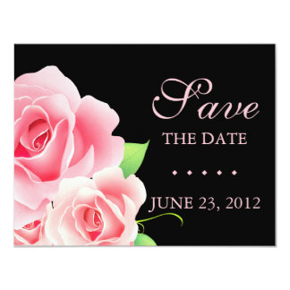 "Elegant Pink Rose Save the Date [Black] 4.25"" X 5.5"" Invitation Card"