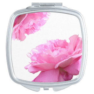 Elegant Pink Rose Square Duo Mirror Compact Mirrors For Makeup