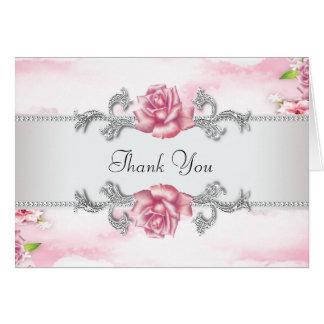 Elegant Pink Rose Thank You Card