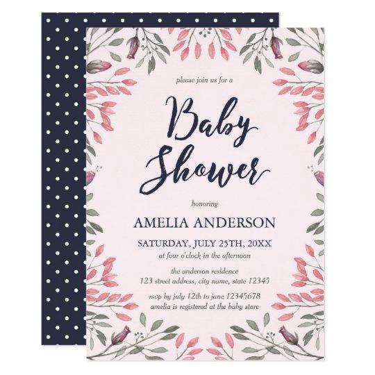 Elegant Pink Roses Floral Baby Shower Invitation