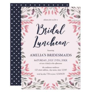 Elegant Pink Roses Floral Bridal Luncheon Card