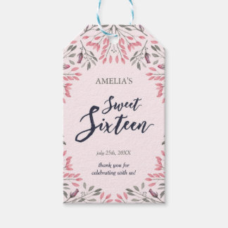 Elegant Pink Roses Floral Sweet 16 Gift Tags