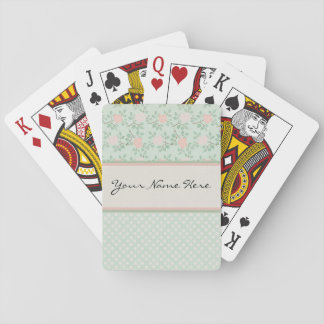 Elegant Pink Roses on Green Playing Cards