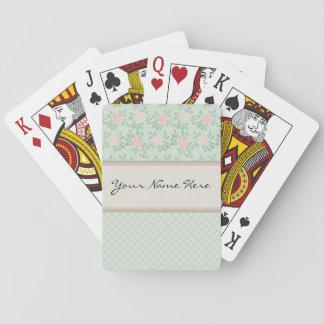 Elegant Pink Roses on Green Poker Deck