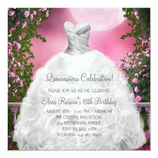 Elegant Pink Roses Pink Quinceanera Invitations