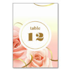 Elegant Pink Roses Table Number Cards