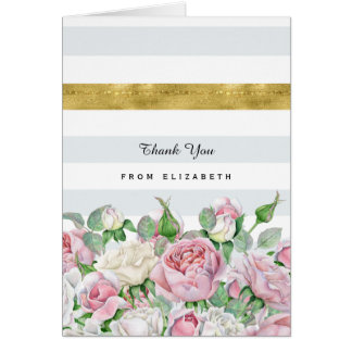 Elegant Pink Roses With FAUX Gold Stripe Thank You Note Card