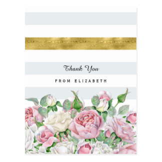 Elegant Pink Roses With FAUX Gold Stripe Thank You Postcard