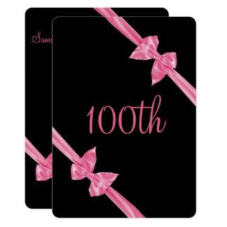 Elegant Pink Satin Bows 100th Birthday Card