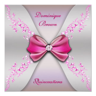 Elegant Pink Silver Diamond Bow Quinceanera Card