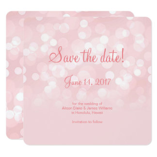 Elegant pink sparkling bokeh  save the date card