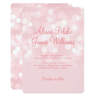 Elegant pink sparkling bokeh wedding invitation
