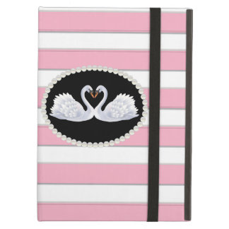 Elegant Pink Stripe Swans Ipad Case