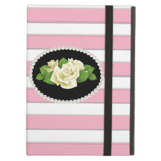 Elegant Pink Stripe White Roses Ipad Case