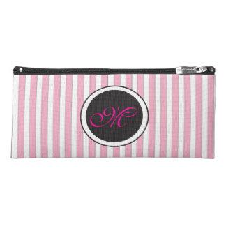 Elegant Pink Striped Circle Monogram Pencil Case