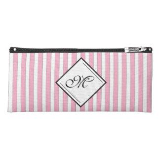 Elegant Pink Striped Diamond Monogram Pencil Case
