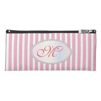 Elegant Pink Striped Faux Diamond Monogram Pencil Case