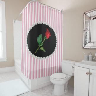 Elegant Pink Striped Pearls & Red Rose