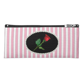 Elegant Pink Striped Pearls & Red Rose Pencil Case